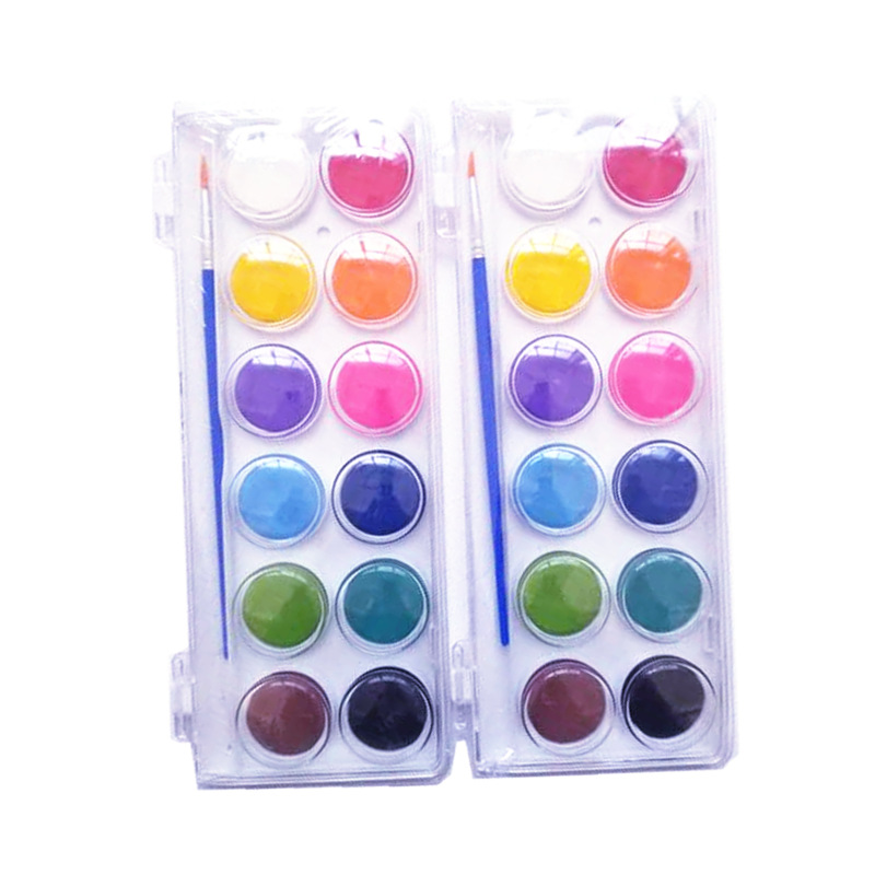 12 colors watercolor cake paint with brush